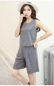 KST046615YA Checkered two-piece pants suit REAL PHOTO