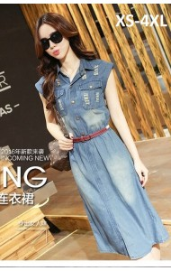 PDS045721YT Plus size denim belted dress REAL PHOTO