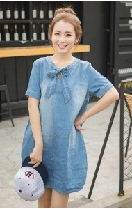 KDS05330AYA Korea soft denim ribbon dress Actual Picture