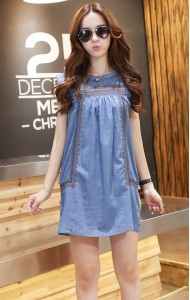 KDS058002YJ Embroidery soft denim dress ACTUAL PICTURE