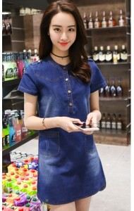 KDS059161YS Denim dress with pocket ACTUAL PICTURE