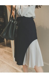 *KSK052226YS Stitching pleated midi skirt ACTUAL PICTURE
