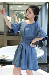 KDS05116YY V neck trumpet sleeves denim dress ACTUAL PICTURE