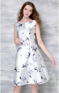 *BDS057019YH Floral A line dress with belt ACTUAL PICTURE