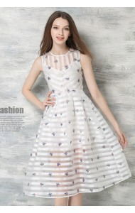 *BDS050656YX Organza floral midi dress ACTUAL PICTURE