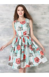 *BDS059007YX Rose print flared dress ACTUAL PICTURE