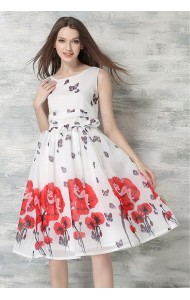 *BDS053656YX Chiffon garden print flared dress ACTUAL PICTURE