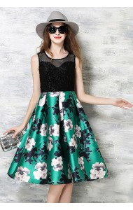 *BDS055595YX Hollow lace floral printed dress ACTUAL PICTURE