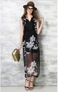 *BDS059595YX Floral silk dress with lining ACTUAL PICTURE