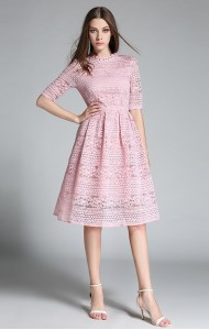 BDS060729YH Embroidery lace dress ACTUAL PICTURE