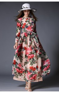 BDS060329YH Floral long sleeves chiffon maxi dress ACTUAL PICTURE