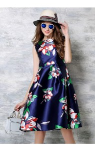 BDS066281YH Plus size floral dress in blue ACTUAL PICTURE