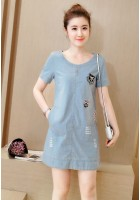KDS060686YP Plus size  denim dress with pocket ACTUAL PICTURE