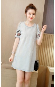 KDS069586YP Denim shoulder off patchwork dress ACTUAL PICTURE