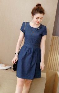 KDS068586YP Denim A line dress ACTUAL PICTURE