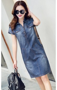 KDS068118YH Plus size denim dress ACTUAL PICTURE
