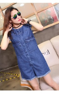 KDS06116120YD Sleevesless denim jumpsuit  ACTUAL PICTURE