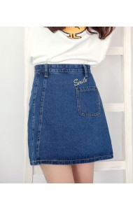 KSK060605YZ Korea SMILE embroidery A line skirt Actual Photo