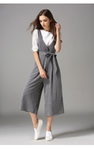 BJP0701805Y Checkered V neck jumpsuit Actual Photo