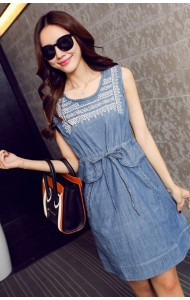 KDS07067122J Embroidery drawstring denim dress Actual Photo