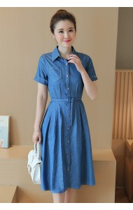 KDS07069118C Soft denim belted skater dress Actual Photo