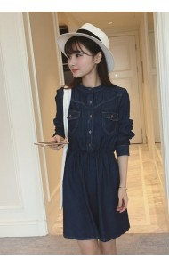 KDS07060509F Denim long sleeves drawstring dress Actual Photo