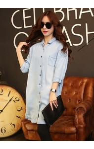 KDS07066502T Boy friend soft denim shirt/ dress Actual Photo