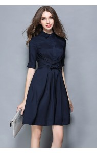 BDS137388H OL collar dress with bow on waist Actual Photo