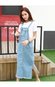 KDS07203361R Split denim jumpsuit dress Actual Photo