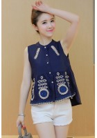 KTP07292051B Embroidery wawa blouse Actual Photo