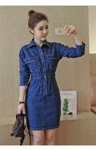 KDS0805868A Bodycon long sleeves denim dress Actual Photo