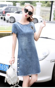 KDS11273236H Denim A line dress with side button Actual Photo