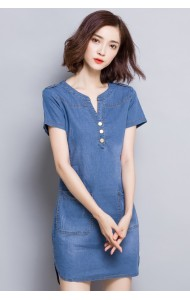 KDS0815138A Denim A line V neck dress Actual Photo