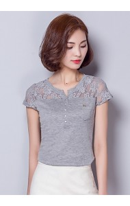 KTP08188106H Basic lace t shirt in 3 colors Actual Photo