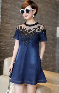 KDS08202871M Plus size embroidery mesh shoulder denim dress Actual Photo