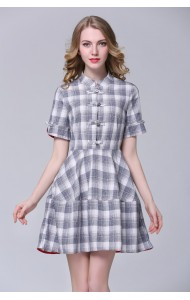 BDS09038103M Retro cheongsum checkered dress Actual Photo