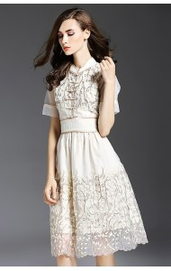 BDS09030706Y Embroidery organza floral cheongsum dress Actual Photo