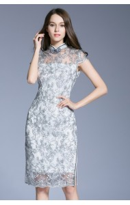 BDS09039103M Black & white embroidery floral cheongsum dress Actual Photo