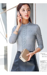 KTP09119338S Full lace high neck long sleeves shirt Actual Photo
