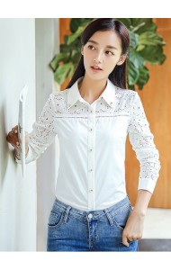 KTP09126038S Embroidery crochet long sleeves shirt Actual Photo