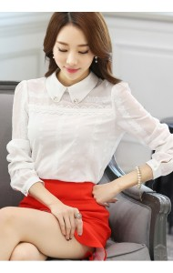 KTP09129796S Embroidery chiffon long sleeves shirt Actual Photo