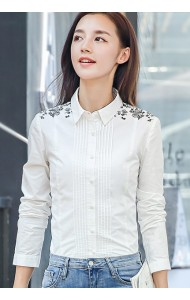 KTP09125828S Embroidery floral OL shirt Actual Photo