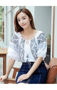 KTP09125128S Embroidery wawa blouse Actual Photo