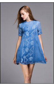 BDS09220807S Embroidery A line dress chiffon dress/ blouse Actual Photo