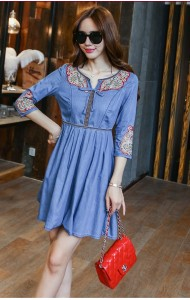 KDS09293232T Embroidery V neck denim dress Actual Photo