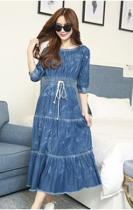 KDS09296132T Denim tiered dress with drawstring Actual Photo