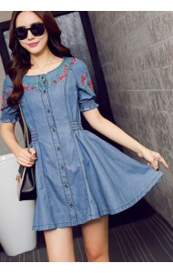 KDS09293122T Embroidery denim flared dress Actual Photo