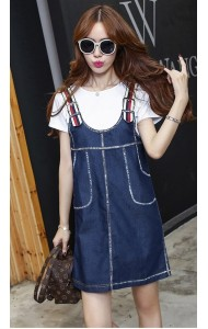 KDS10015322T V back denim jumpsuit dress Actual Photo