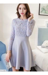 KDS10129286B 2D Lace long sleeves skater dress Actual Photo