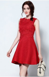 BDS10145085Y Jacquard crochet skater dress Actual Photo